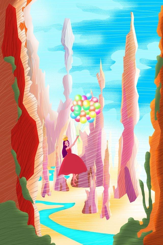 vitality spring girl cute cartoon, Weathered Rock Mountain, Girl, Vitality illustration image