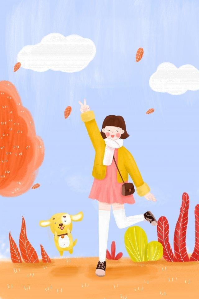 жизнеспособность девочки подростка осеннего щенка Ресурсы иллюстрации