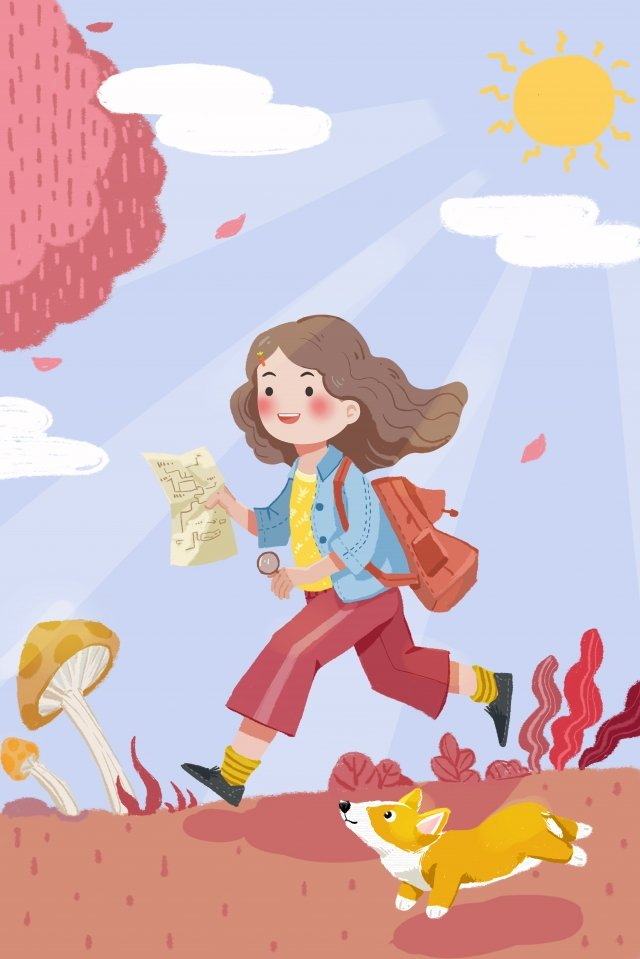 vitality teenage girl girl fresh, Simple, Positive, Adventure illustration image