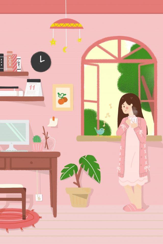 sức sống tuổi teen cô gái vẽ tay chào buổi sáng Hình minh họa