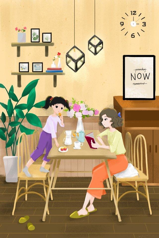 vitality teenage girl sisters mother and daughter llustration image illustration image