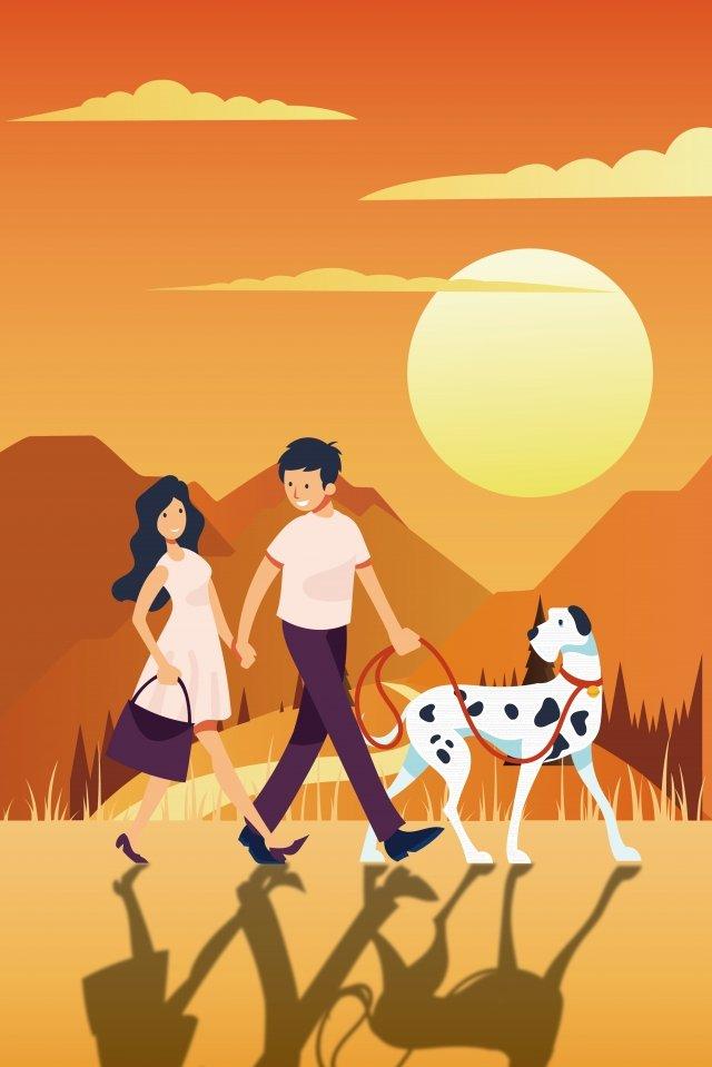 walking couple puppy sunset, Walking, Couple, Puppy illustration image
