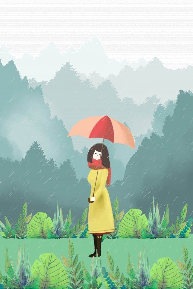 walking in the rain girl umbrella drizzle, Spring, Green Plant, Garden illustration image
