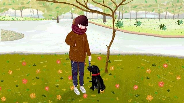 прогулка с собакой городская жизнь девушка парк Ресурсы иллюстрации Иллюстрация изображения