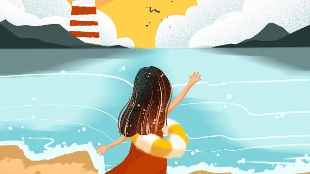 溫暖的顏色黃昏海海邊 插畫素材 插畫圖片