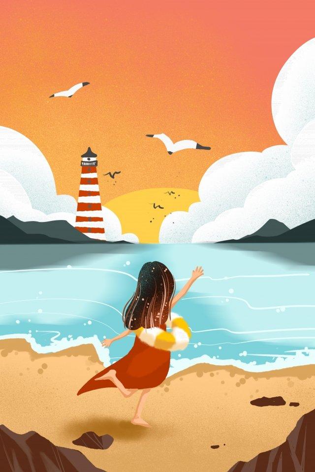 溫暖的顏色黃昏海邊海灘 插畫素材 插畫圖片