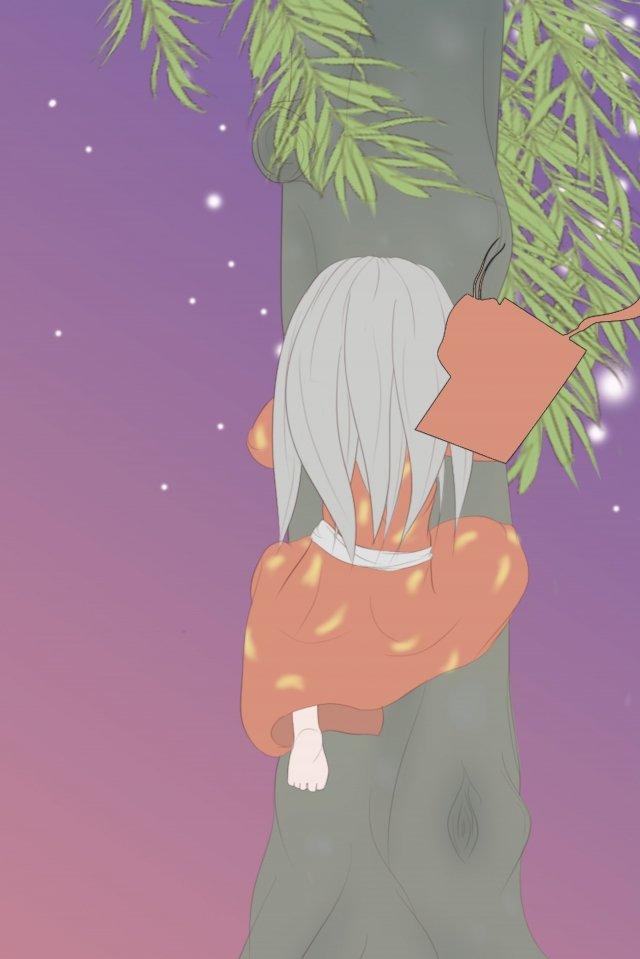 暖かい色の夜の星明かりの古い木 イラスト素材