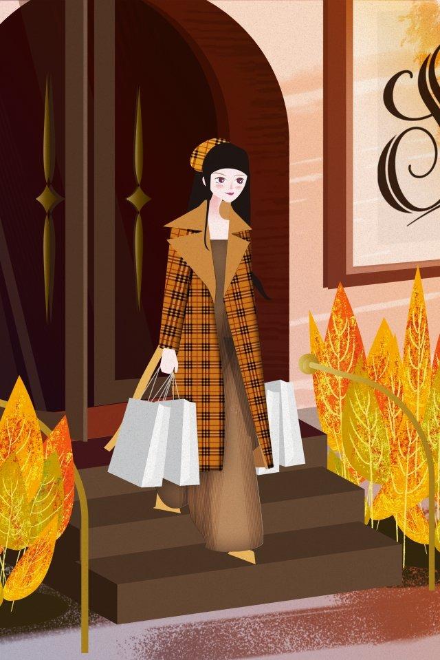 따뜻한 색 겨울 여성 도시 그림 이미지