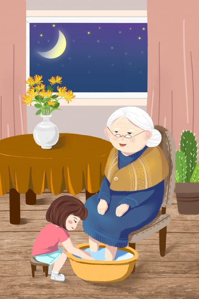warm double ninth festival family respecting the old, Old, Illustration, Warm illustration image