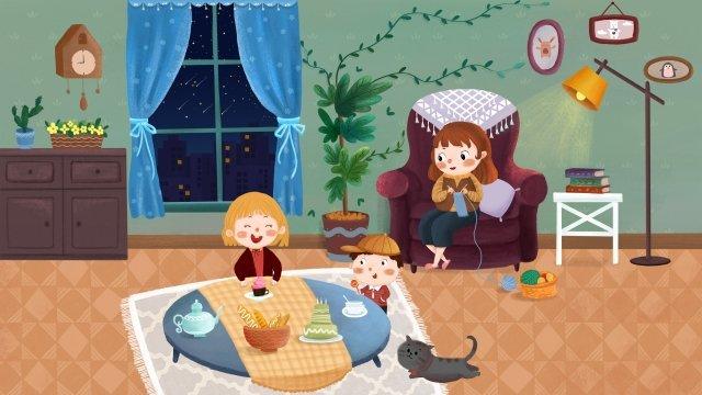 गर्म परिवार परिवार के बच्चे चित्रण छवि