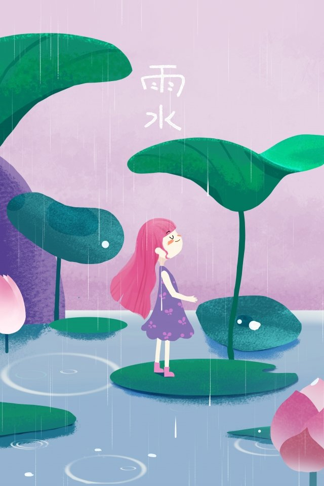 warm fresh beautiful purple, Pink, Girl, Rainwater illustration image