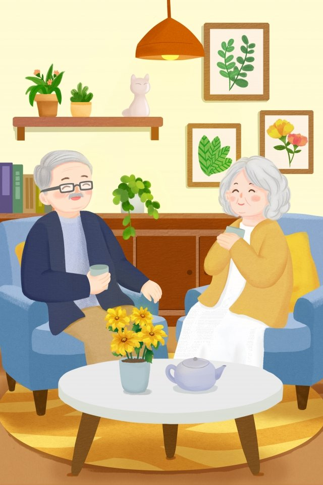 warm home double ninth festival chongyang, Day Of Older Persons, Elderly Couple, Happy Life illustration image