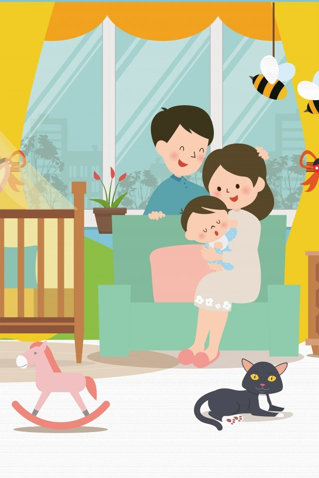 warm home family illustration warm illustration of a family of three baby llustration image