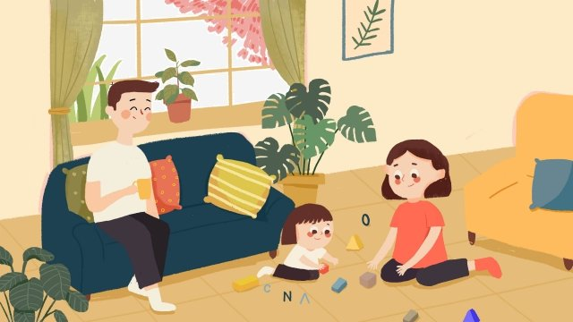 warm indoor emotional expression family, A Family Of Three, Play Games, Warm illustration image