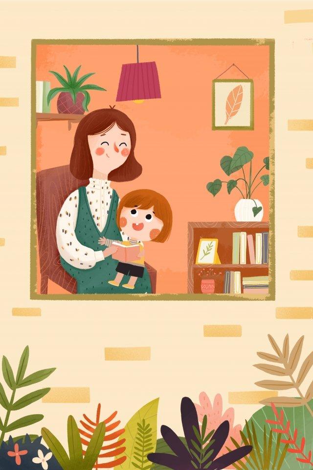 warm indoor scene parent child education emotional expression llustration image