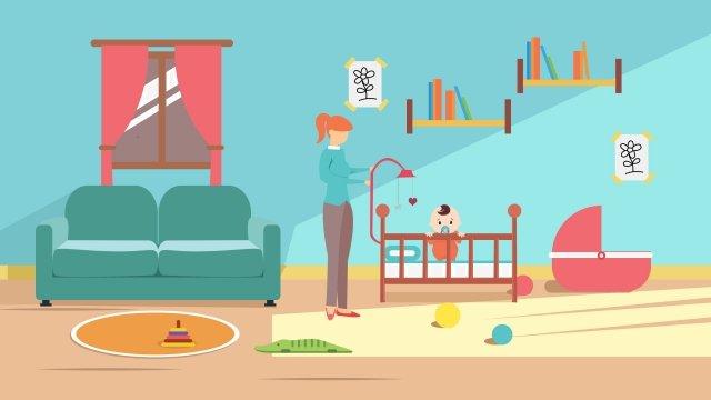 溫暖的母親和嬰兒母愛家庭 插畫素材
