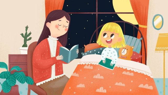 溫暖的夜晚母親和女兒的家人 插畫素材