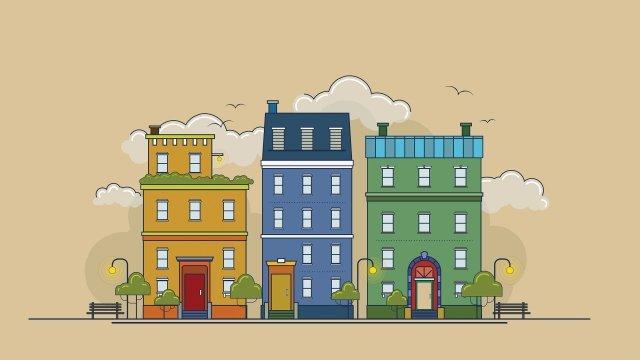 warna aman hangat warna bandar kecil imej keterlaluan imej ilustrasi