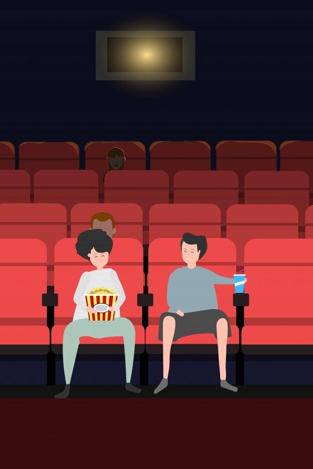 映画を観る映画シネマポップコーン イラスト画像