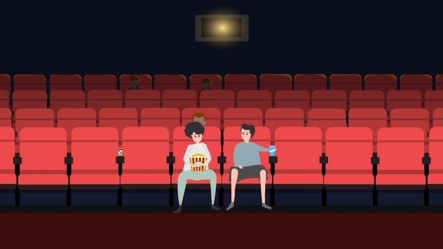 映画を観る映画シネマポップコーン イラスト素材