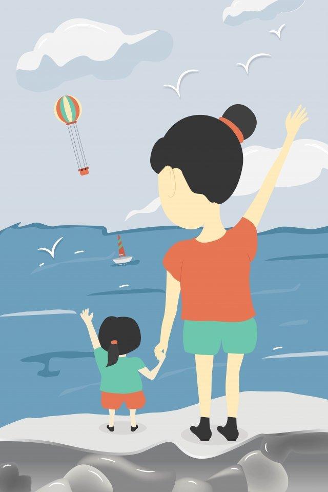 아이와 함께 바다를 보면서 따뜻한 손으로 그리는 엄마와 아기 추수 감사절 어머니 날 삽화 소재