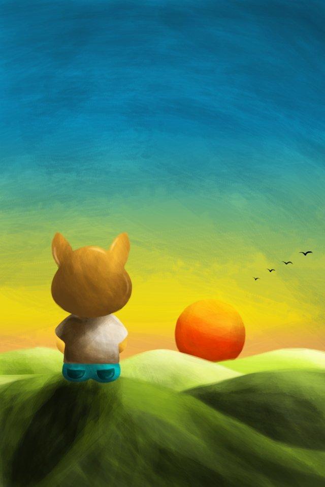 watching the sunset hillside puppy back view, Sunset, Afterglow, Guiyan illustration image