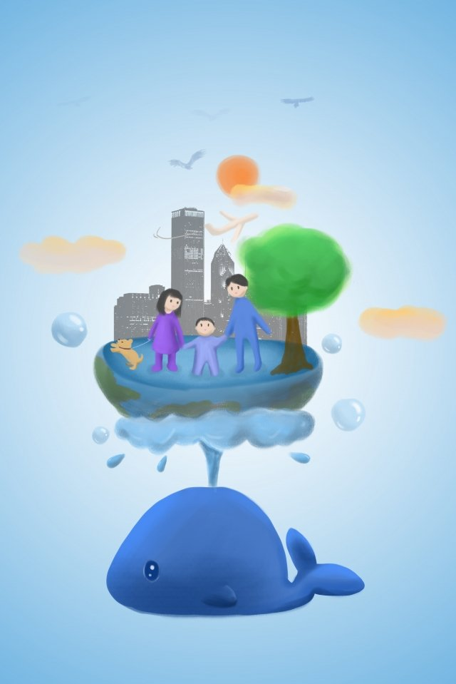 water hand painted whale blue, Bubble, Family Of Three, Surroundings illustration image