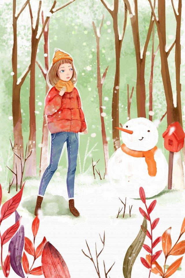 watercolor winter illustration great cold, Snowman, Teenage Girl, Snow Drifting illustration image