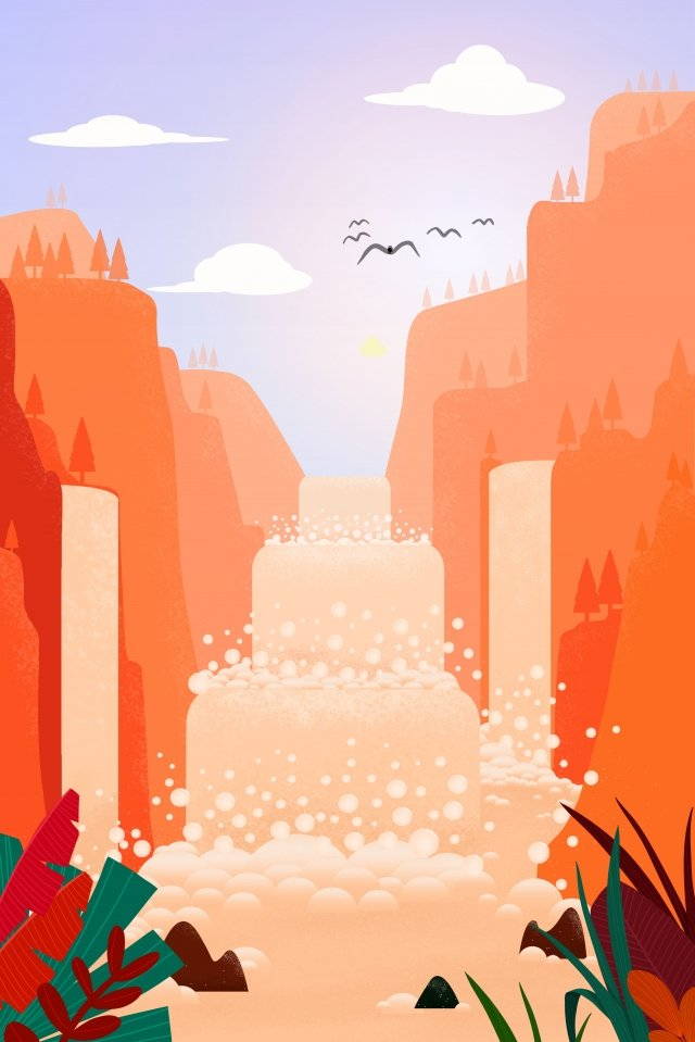 waterfall water flow wild goose plant leaves llustration image illustration image