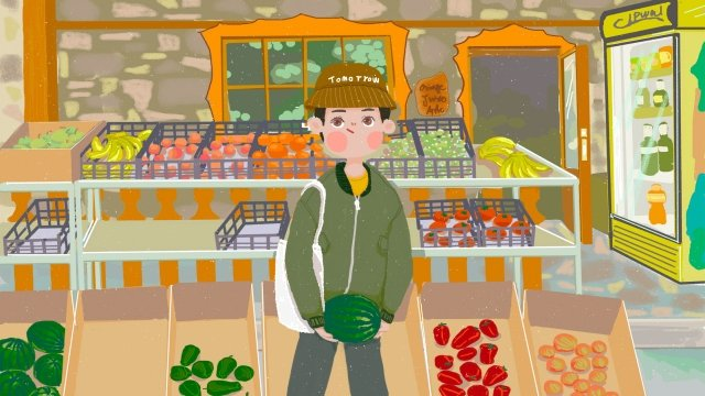 watermelon boy fruit vegetables, Market, Organic, Green illustration image