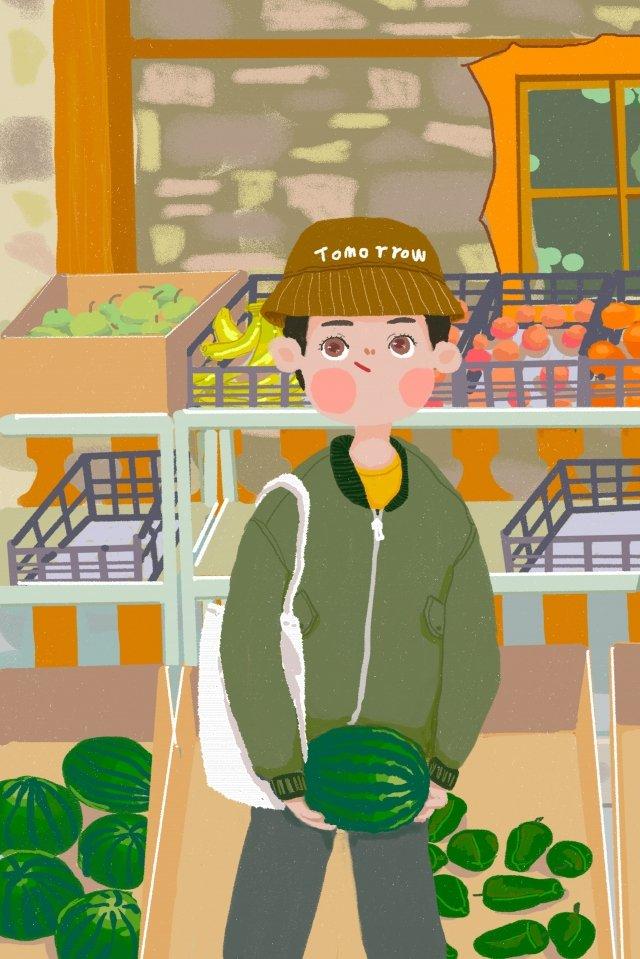 수박 소년 야채 유기농 삽화 소재 삽화 이미지