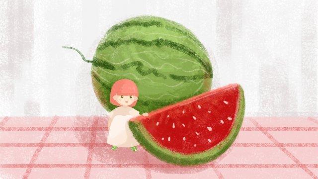 watermelon fruit girl summer llustration image