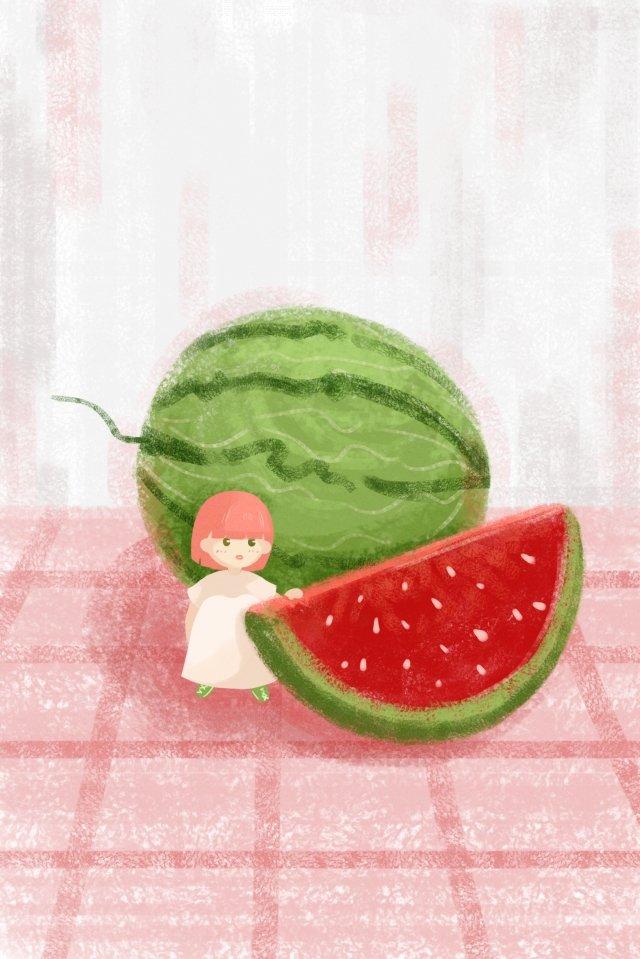 watermelon fruit girl summer illustration image