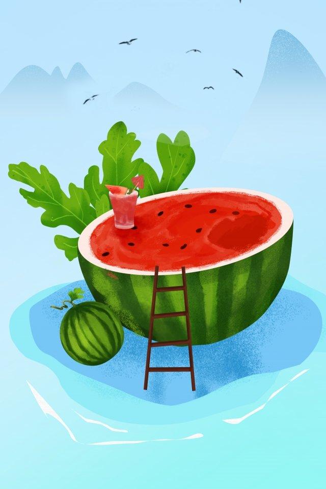 수박 과일 녹색 여름 삽화 소재