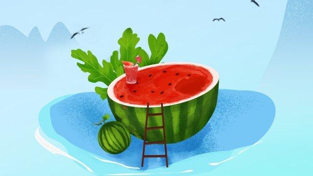 तरबूज फल हरी गर्मी चित्रण छवि चित्रण छवि