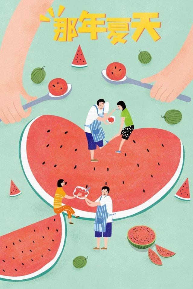 watermelon girl boy eat watermelon llustration image
