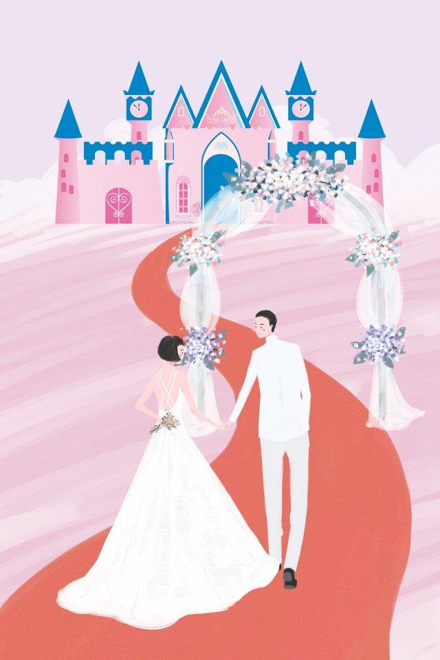 結婚式の夢の花嫁花婿 イラスト素材 イラスト画像