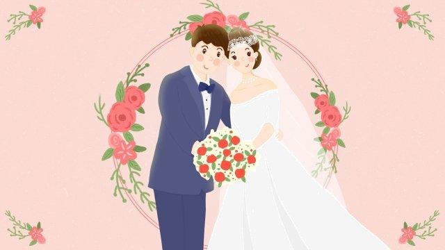 wedding dress marry couple bouquet llustration image illustration image