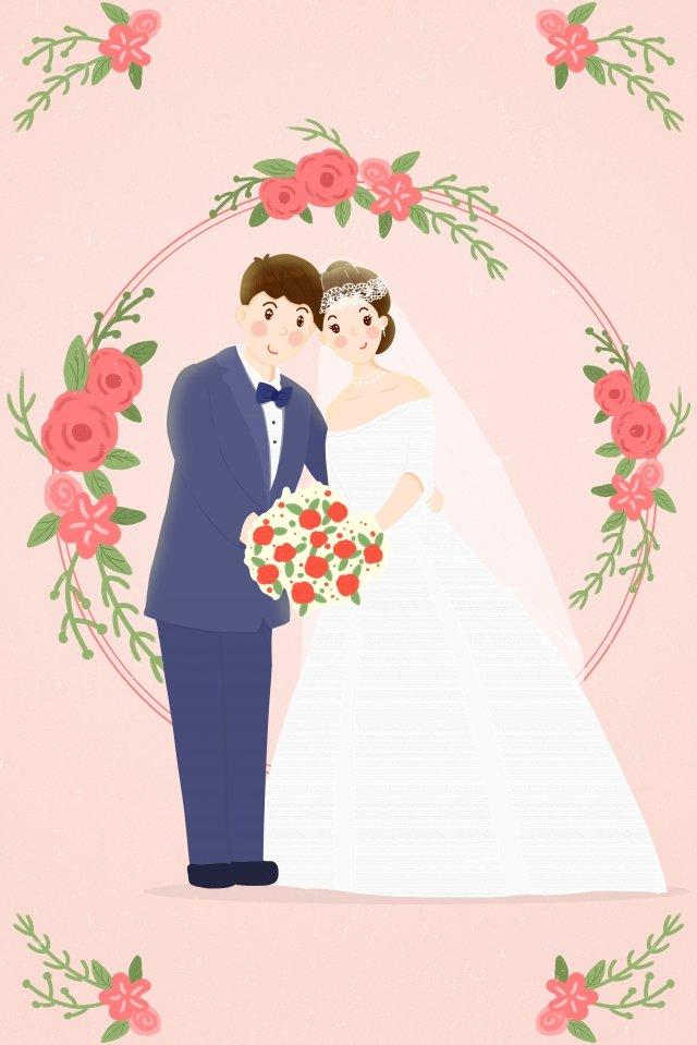 wedding dress marry couple bouquet llustration image