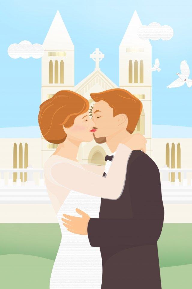 結婚式のキスイラストロマンチック イラスト素材