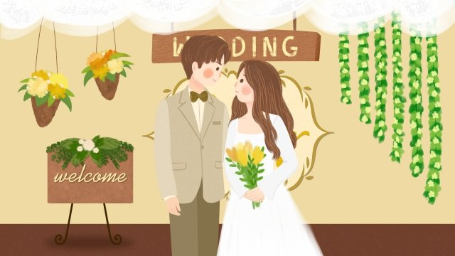 wedding marriage scene bride and groom wedding llustration image illustration image