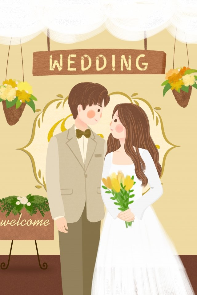 wedding marriage scene bride and groom wedding llustration image