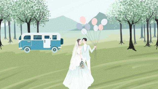 結婚式のシーンの新鮮なスタイル 結婚式 結婚する 花嫁 新郎 ウェディングドレス バス結婚式のシーンの新鮮なスタイル  結婚式  結婚する PNGおよびPSD illustration image
