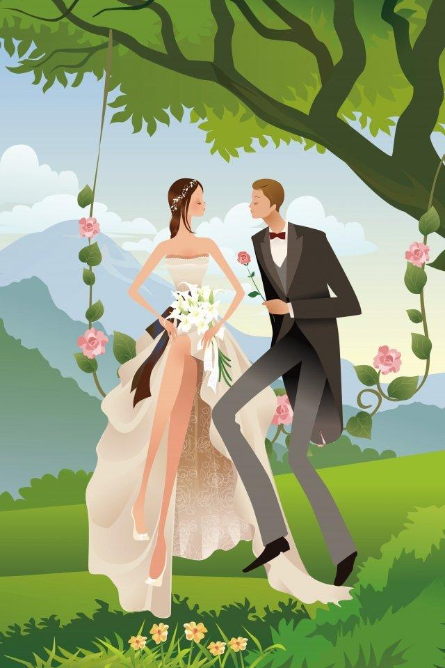 結婚式のロマンチックな提案スイング イラスト素材 イラスト画像