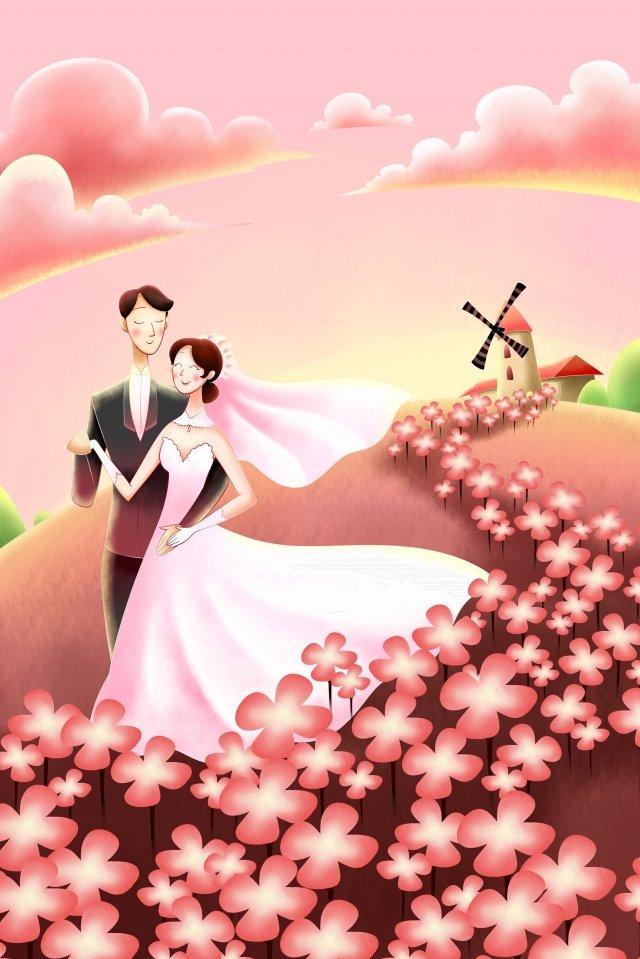 結婚式の結婚式の新郎新婦の花 イラスト画像