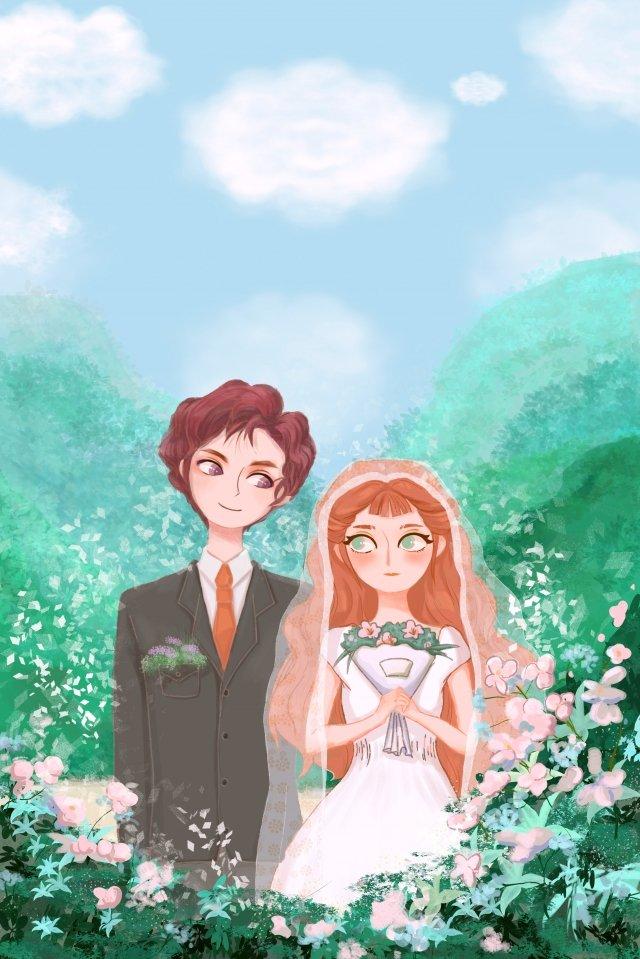結婚式のウェディングドレスグリーンの花 イラスト素材 イラスト画像