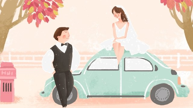 wedding wedding photo couple car llustration image illustration image