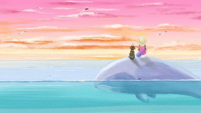 व्हेल लड़की समुद्री यात्रा चित्रण छवि