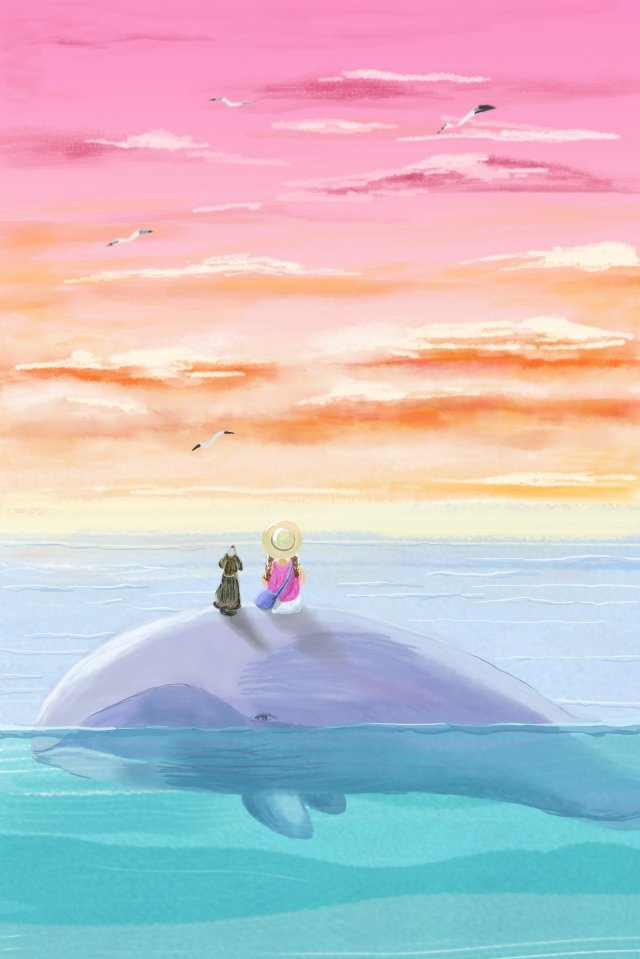 whale girl maritime travel, Hongxia, Seagull, Seabird illustration image