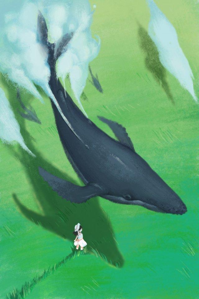 クジラ草原クラウドクラウド層 イラスト素材 イラスト画像